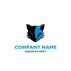 BLUE FOX SYMBOL VECTOR ICON LOGO TEMPLATE