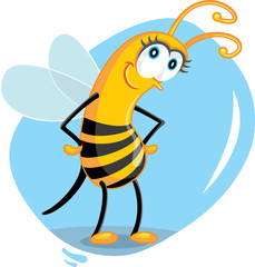 Cute Cartoon Bee Vector Illustration