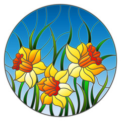 Illustration in stained glass style with a bouquet of yellow daffodils on a blue background, round image