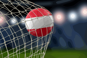 Pile of Soccer footballs and Austrian flag. Image with clipping path