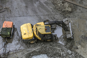 Belgrade, Serbia - A view from the height of a wheel loader preparing ground for the construction site