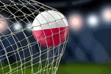 Polish soccerball in net