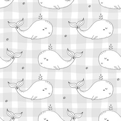 Cute background with cartoon whales. Baby shower design.
