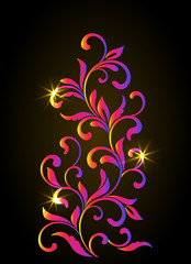 Color Decorative floral element with swirls and leaves on a dark background. Ideal for stencil. Vintage style.