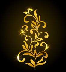 Golden Decorative floral element with swirls and leaves on a dark background. Ideal for stencil. Vintage style.