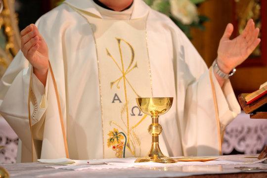 Priest celebrate mass at the church