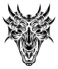 Dragon Head Front Woodcut