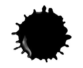 Black ink blot on white background