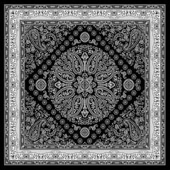 black and white paisley bandanna pattern