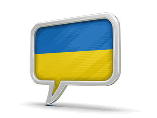 Speech bubble with Ukrainian flag. Image with clipping path