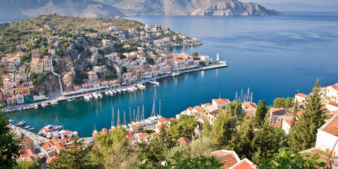 Wall Mural - Aial panoramiv view of Symi, Dodecanese island, Greece