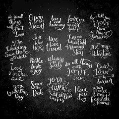 Inspirational vector hand drawn quote. Chalk lettering on blackboard. Motivation saying for cards, posters and t-shirt