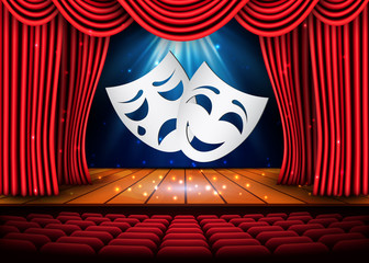 Happy and sad theater masks, Theatrical scene with red curtains. Stock vector illustration