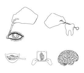 Examination of the tooth, instillation of the eye and other web icon in outline style. A snapshot of the hand, teeth cleaning icons in set collection.