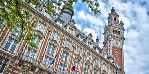 Wall Mural - The belfry of the Chamber of Commerce - Lille, North of France