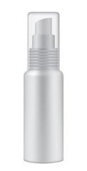 Cosmetic bottle on white background