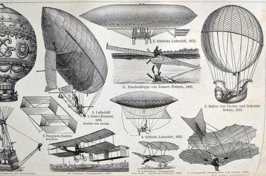 Vintage illustration - AERONAUTICS. Meyers Kleines Lexikon. Edition 1908.