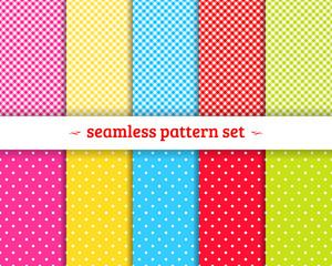 Spring geometric seamless patterns set vector