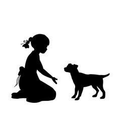 Silhouette girl sitting knees beckon dog