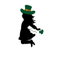 Silhouette girl jumps. Happy Saint Patricks Day
