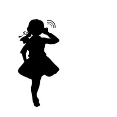 Silhouette girl holds hand near ear listening