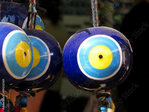 Nazar amulets in a Turkish shop  Fatima's eye, protection