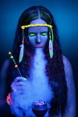 Neon hippie girl smoking hookah