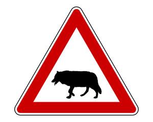 Warnschild Wolf auf weiss