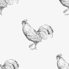 Seamless pattern with roosters. Hand drawn