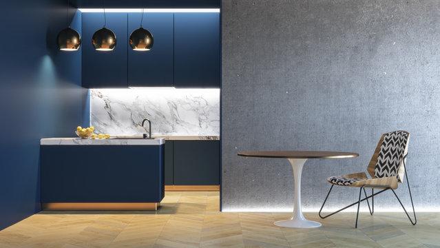 Kitchen blue minimalistic interior. 3d render illustration mock up.