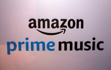 A banner displaying the Amazon Prime Music logo is seen in Mumbai