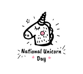 National unicorn day. Vector cartoon sketch illustration