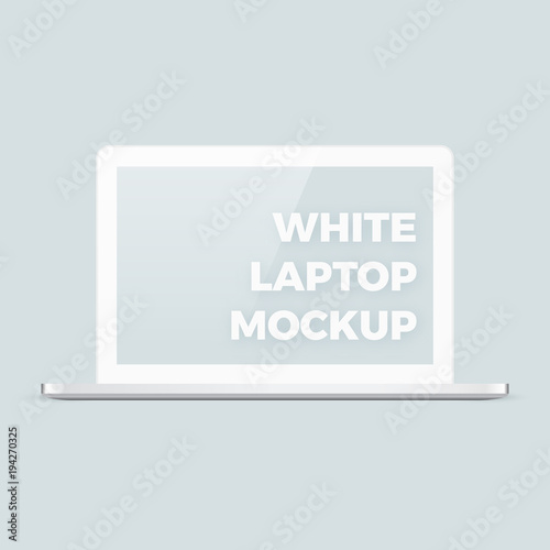 realistic vector clean white shiny laptop mockup template with blank