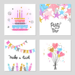 Happy Birthday cards set. Celebration colorful vector illustrations with birthday cake, balloons and stars.