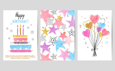 Happy Birthday cards set. Celebration vector colorful templates with birthday cake, balloons and stars.