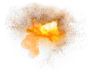Realistic fiery explosion with sparks over a white background