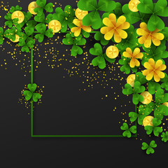 Saint Patrick s Day border with green and gold four and tree Leaf clovers and golden coins on black background. Party invitation template. Lucky,success and money symbols vector illustration.