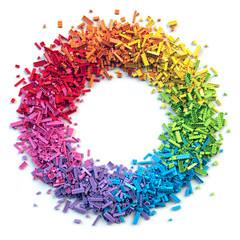 Circle frame of colorful toy bricks isolated on white background