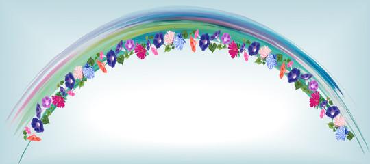 invitation arch convolvulus, astra flowers watercolor