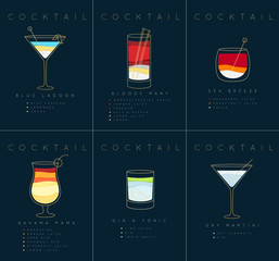 Poster cocktails Blue Lagoon dark blue