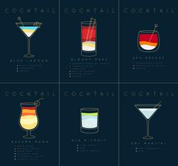 Poster cocktails Blue Lagoon dark blue