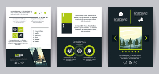 Forest brochure infographic vector illustration graphic design