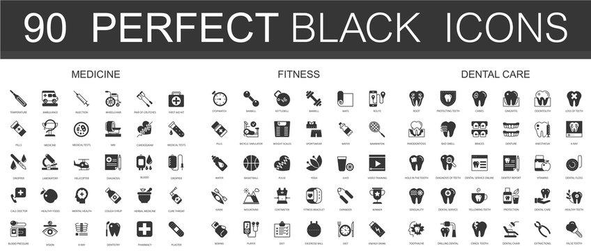 Medicine, sport fitness, dental care black classic icon set.