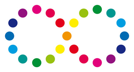 Liegende Acht aus Farbkreisen