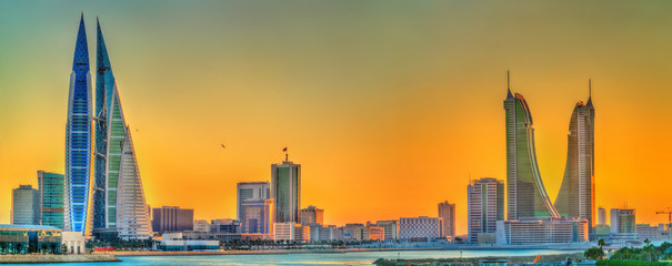 Poster Middle East Skyline of Manama at sunset. The Kingdom of Bahrain