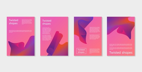 Set of modern covers with twisting shape elements. Trendy minimal design. Gradient ribbons. Ultra violet purple colors. Can be used for covers or posters design. Vector illustration.