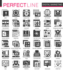 Vector Digital marketing, SEO black mini concept icons and infographic symbols set
