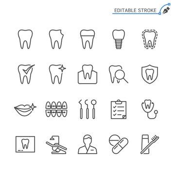 Dental line icons. Editable stroke. Pixel perfect.