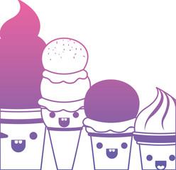 delicious ice cream group kawaii character vector illustration design