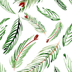 Christmas watercolor pattern of fir branches on a background. Hand drawn illustation.